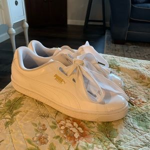 Puma white patent leather sneakers size 8
